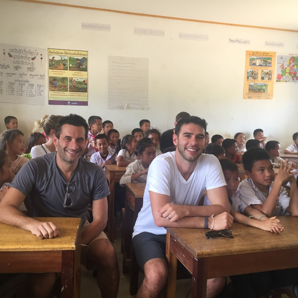 ✏️Matt and Pencils of Promise founder Adam Braun in Laos in a new school recently built as part of POP's efforts in Southeast Asia✏️