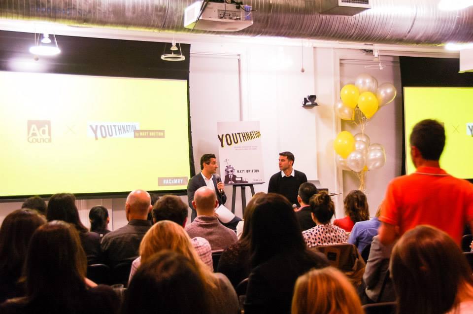✏️Matt Britton & Pencils Of Promise Founder Adam Braun during an Ad Council event as they discuss purpose built millennil brands. Click to read event recap✏️