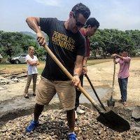 ✏️Matt helps break ground on a new school built in Laos in April . 2015✏️