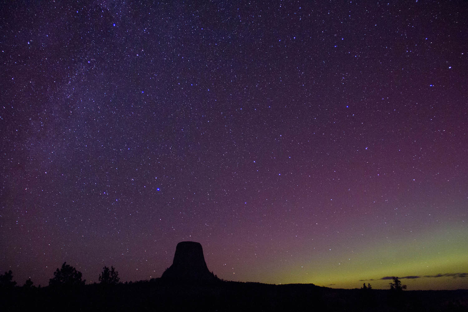 Aurora & Devils Tower • Devils Tower National Monument, Wyoming; USA