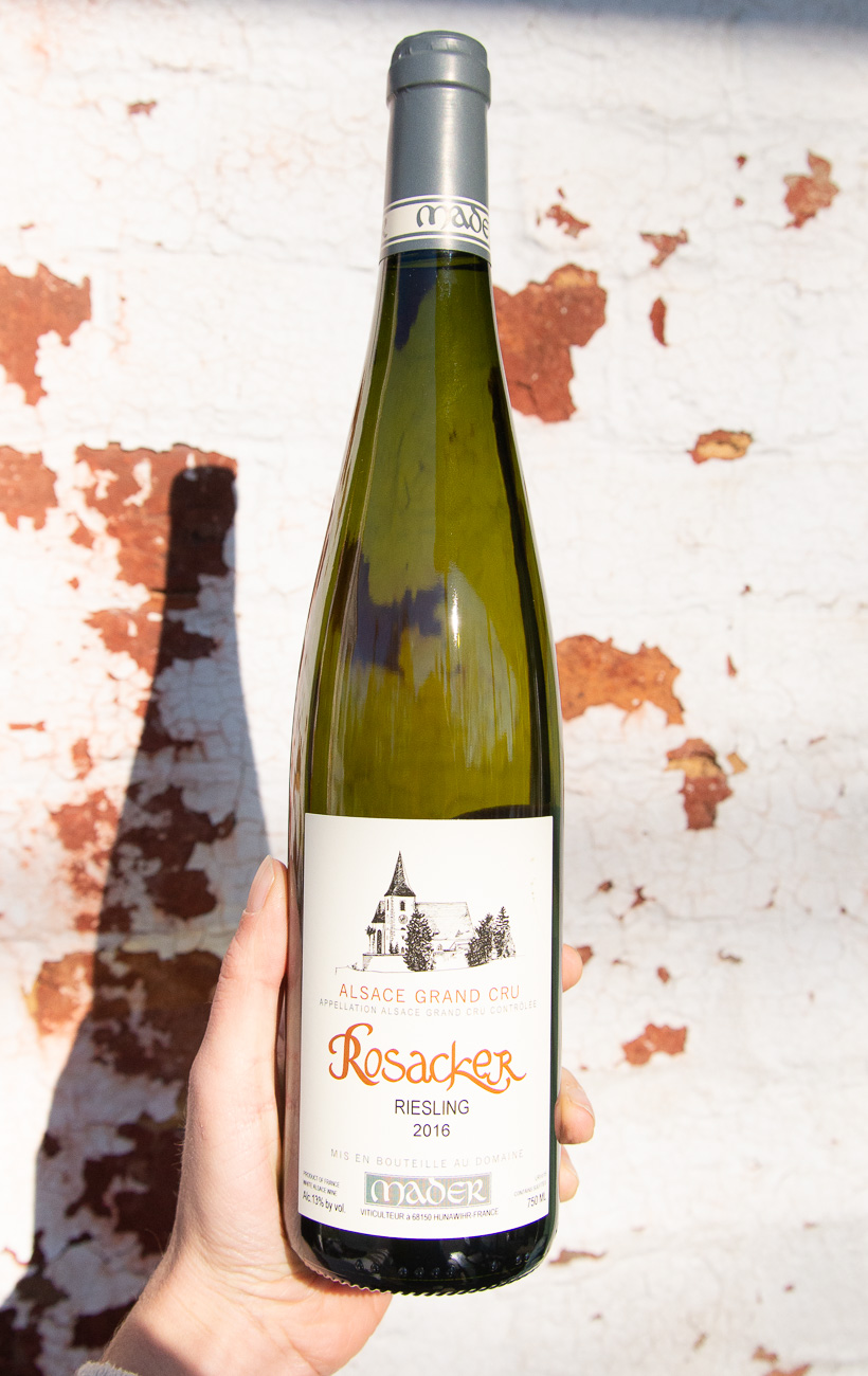 "Mader Riesling Alsace Grand Cru 'Rosacker' 2016 - Retail: $39.95 | Sale $35.95This single vineyard Alsace Grand Cru Riesling is widely regarded as a ""holy grail"" Riesling site. Located in the village of Hunawihr and spanning 64 acres in total, it has been a cherished site for Riesling and Gewürztraminer since the 15th century. Vineyards such as Rosacker are transcendent patches of earth that make any discussion of old vines seem quaint: vines have lived long lives, and been reborn, many times over in places like this. This is a classically styled Alsace Grand Cru, starting out viscous and mouth-coating before a tsunami of refreshing acidity rushes in to cleanse the palate and drive the long, floral finish. Although its acid will surely preserve it for a good 10+ years, it is also a joyous glass of wine right now. It is quintessential Alsace, and at this price, an absolute steal.100% Riesling"