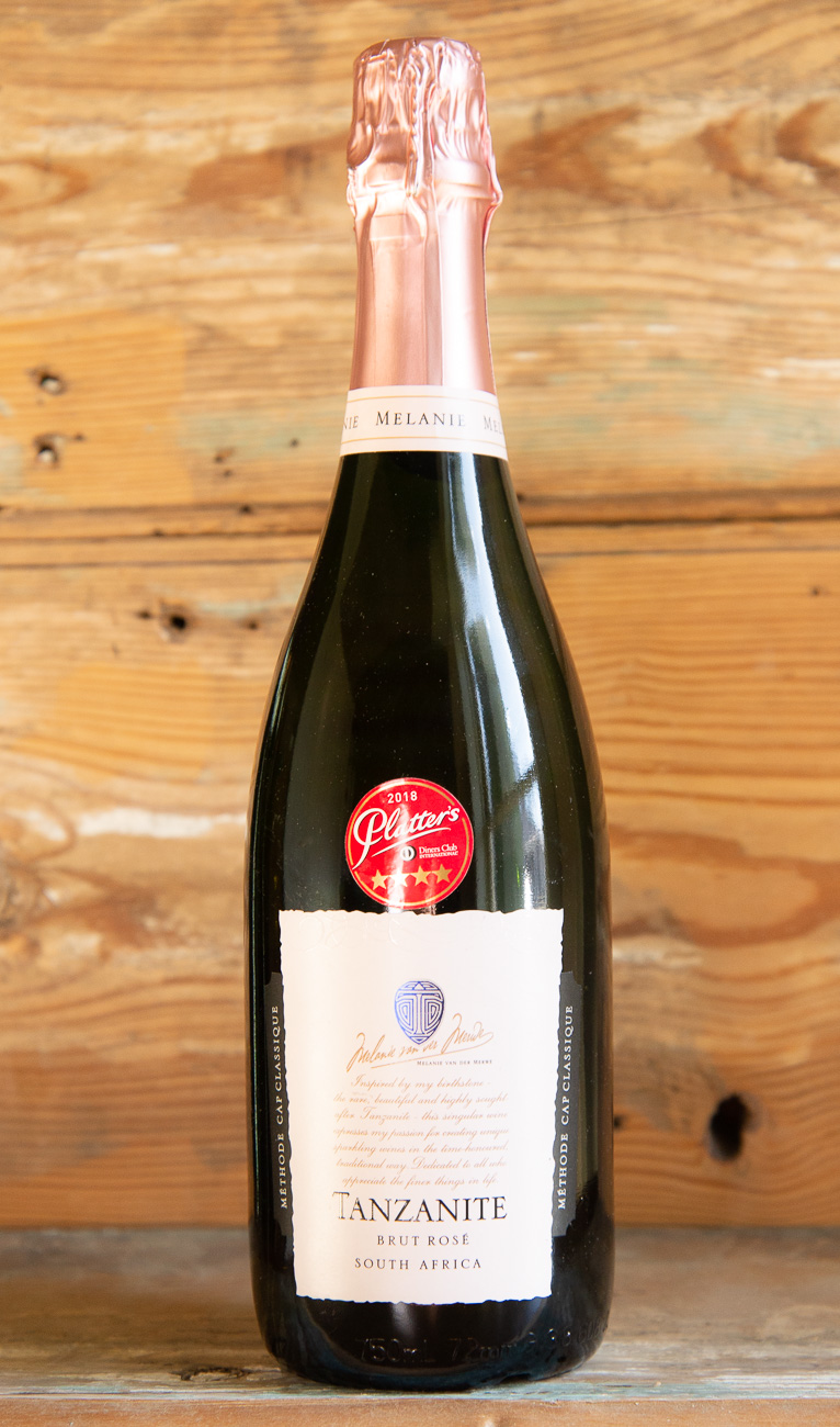 Tanzanite Brut Rose Method Cap Classique - Origin: South AfricaRetail: $34.95 | Sale $31.45This South African méthode cap classique is made the same way as Champagne. It begins with a luminous pink appearance, leading into aromas of raspberries, cherries, and notes of minerality. The structure is suave yet robust, making it a perfect match with roasted poultry, game, tapas, ham and smoked salmon.60% Pinot Noir | 40% ChardonnaySustainable.