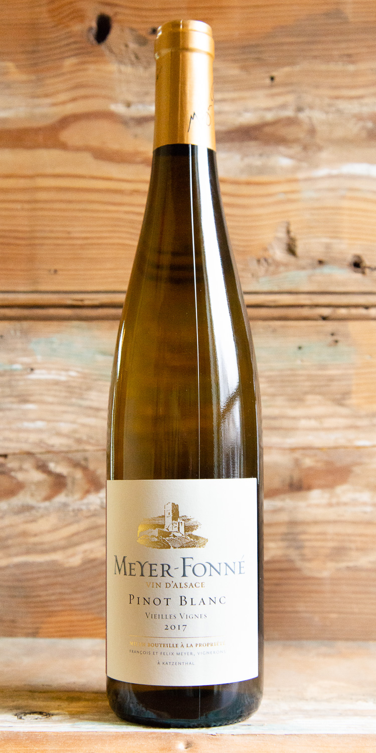 Meyer-Fonne Pinot Blanc Vieilles Vignes 2017 - Origin: AlsaceRetail: $14.95 | Sale $13.45Winemaker and master blender Félix Meyer has a knack for producing pure and expressive wines that exhibit a keen modernity; yet, he prefers to make them in the traditional Alsatian manner with extended lees aging in older, mostly neutral, large oak casks. The nose is a fragrant mix of stone fruits and honey with delicious flavors of ripe, juicy white peach and hints of honey on the medium-bodied palate. Texturally, the wine feels lush yet still light on its feet with a lingering finish of subtle oak spice, baked apple and once again, more of that delicious honey.65% Pinot Auxerrois | 20% Pinot Blanc | 15% Pinot Gris & Pinot Noir