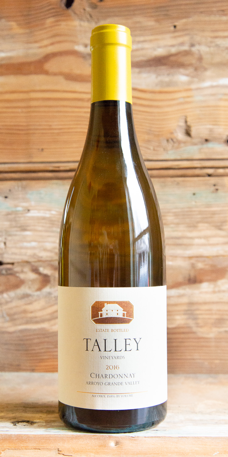 Talley Vineyards Chardonnay 2014 - Origin: CaliforniaRetail: $29.95 | Sale: $26.95Soft gold in color, this Estate Chardonnay is a beautiful expression of the character and style of the Arroyo Grande Valley. On the nose, vibrant aromas of pear and stone fruits are followed by a hint of subtle toasted oak. The palate is soft and plush with delicate acidity. Notes of peach, lemon oil, baked brioche, and slivered almonds are complemented by an excellent minerality. Enjoy this classic Chardonnay with light seafood fare, such as steamed mussels or Dungeness crab.100% Chardonnay92 points Wine Enthusiast 90 points Robert Parker, The Wine AdvocateSustainable.