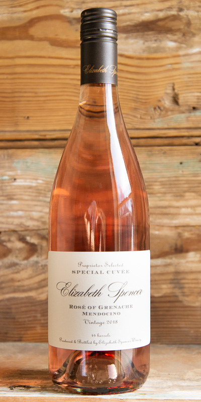 Elizabeth Spencer Rosé of Grenache 2017 - Origin: CaliforniaRetail: $20.95 | Sale: $18.85This Rosé leaps from the glass with a bountiful nose of crushed raspberry, blood orange zest, lilacs, and grape blossoms. The palate is likewise generous and fruity, redolent of cherry, guava, and grapefruit. The fruity palate is well-supported with a bright and zesty acidity that lingers long into the bold, structured finish.100% Grenache.Sustainable.