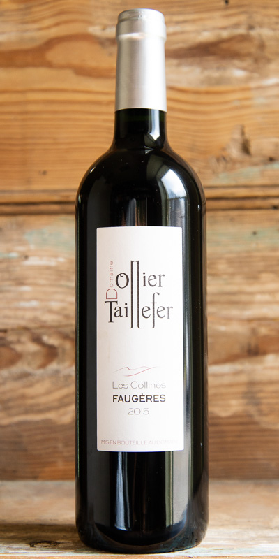 Domaine Ollier-Taillefer Faugères Les Collines Rouge 2015 - Origin: FranceRetail: $19.95 | Sale: $17.95Another selection by siblings Luc and Françoise Ollier. The geology of pure schist gives bright aromatics and sleek deep flavors to Les Collines, an organic, hand-harvested bland of Grenache, Syrah, and Carignan. This wine is long, lithe, and deliciously Languedocien.50% Grenache, 20% Syrah, 30% Carignan.Organic.