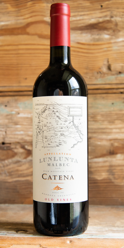 Catena Appellation Lunlunta Malbec 2016 - Origin: ArgentinaRetail: $26.95 | Sale: $24.25The Lunlunta shows a deep violet color with purple reflections. The nose offers concentrated aromas of ripe red and dark fruits with traces of vanilla and mocha. The mouthfeel is rich and concentrated, with blueberry and blackberry notes and a touch of leather and cinnamon. The finish presents well-integrated supple tannins with a flinty minerality that gives the wine exceptional length. The Catena Lunlunta perfectly pairs with smoked meats and cheeses and equally well with braises, roasts or grilled meats and fowl. Perfect for a light dinner or a substantial meal it is an extremely versatile wine that can be enjoyed with or without food. This has depth and complexity while maintaining a classic profile that is clean and focused.100% Malbec.92 Points Robert Parker, 91 Points Jeb Dunnack