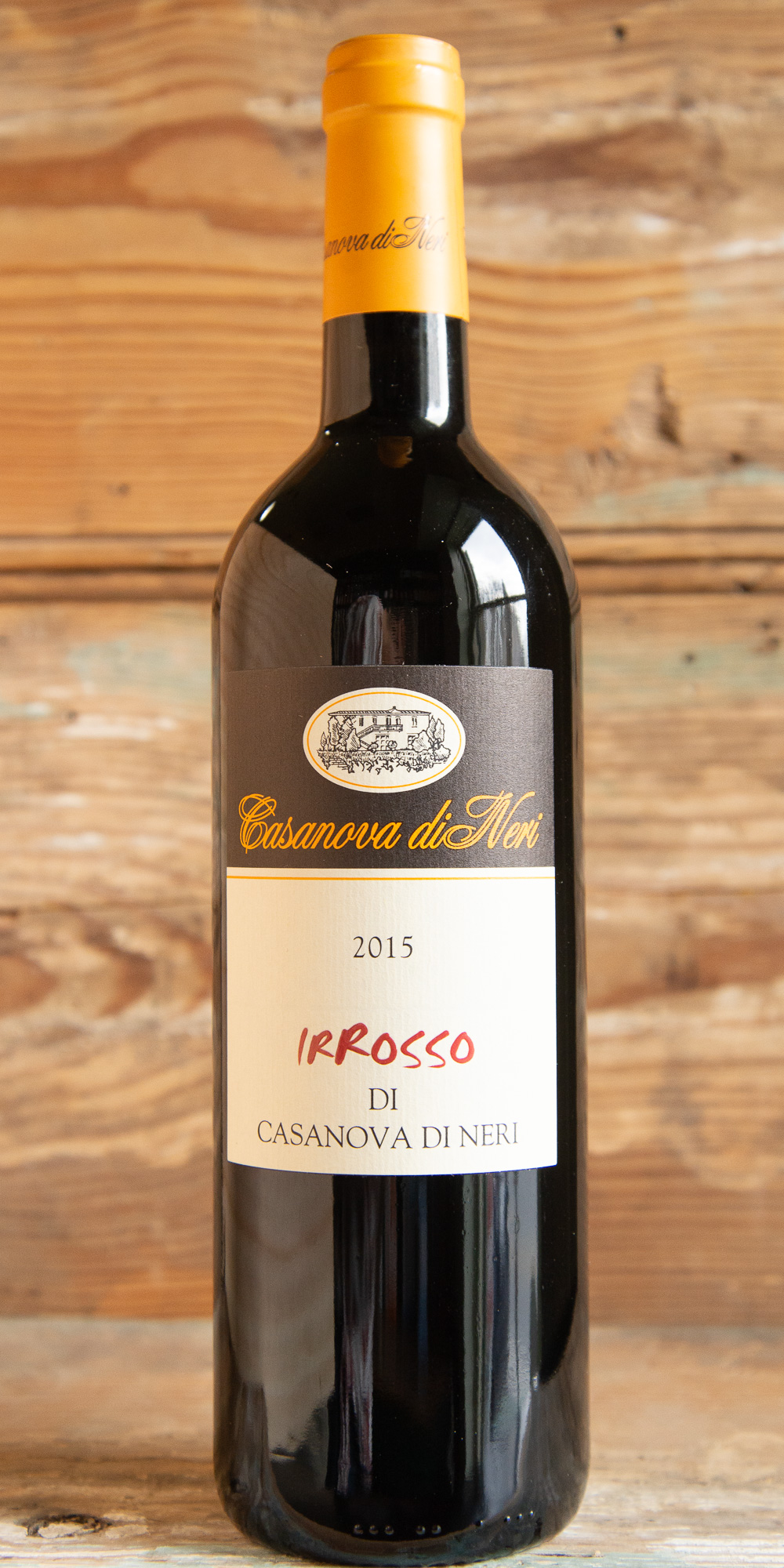 "Casanova di Neri Irrosso Toscana 2015 - Origin: ItalyRetail: $23.95 | Sale $21.55Casanova di Neri was established in 1971 when Giovanni Neri acquired a large estate within Montalcino. In 1991, his son Giacomo took over direction of the estate and winemaking.This is a wine with character and personality that can be called a ""young Brunello"" with fruit sourced from the estate's oldest vineyards. All the fruit was hand harvest followed by a spontaneus fermentation without the addition of artificial yeast and aged in oak for one year. This wine is intense ruby red in the glass with aromas of wild cherry and violets. The palate expresses the perfect balance of fruit and structure. It can be enjoyed now or aged in the bottle to develop for many years to come. Enjoy with veal, pasta, osso buco, or aged cheeses.85% Sangiovese 