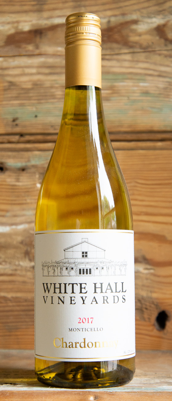 White Hall Chardonnay 2017 - Origin: Monticello, VirginiaRetail: $19.95 | Sale: $17.95Established in 1992, White Hall has grown from 6 acres planted to over 48 acres currently under vine.The Champ family has taken great pride over the years in being stewards of the land and creating wines that are unique to the beauty and richness of the terroir.This well-balanced, crisp Chardonnay with flavors of apples, pears, hints of lemon citrus, nutmeg and a crisp spicy finish. Fermented and aged in stainless steel with a small amount in neutral oak barrels, this Chardonnay the perfect balance of fruit and acidity. Pair this with Virginia's abundant seafood, including crab, clams, and oysters, as well as any soft or semi-soft cow's milk cheese.100% Chardonnay
