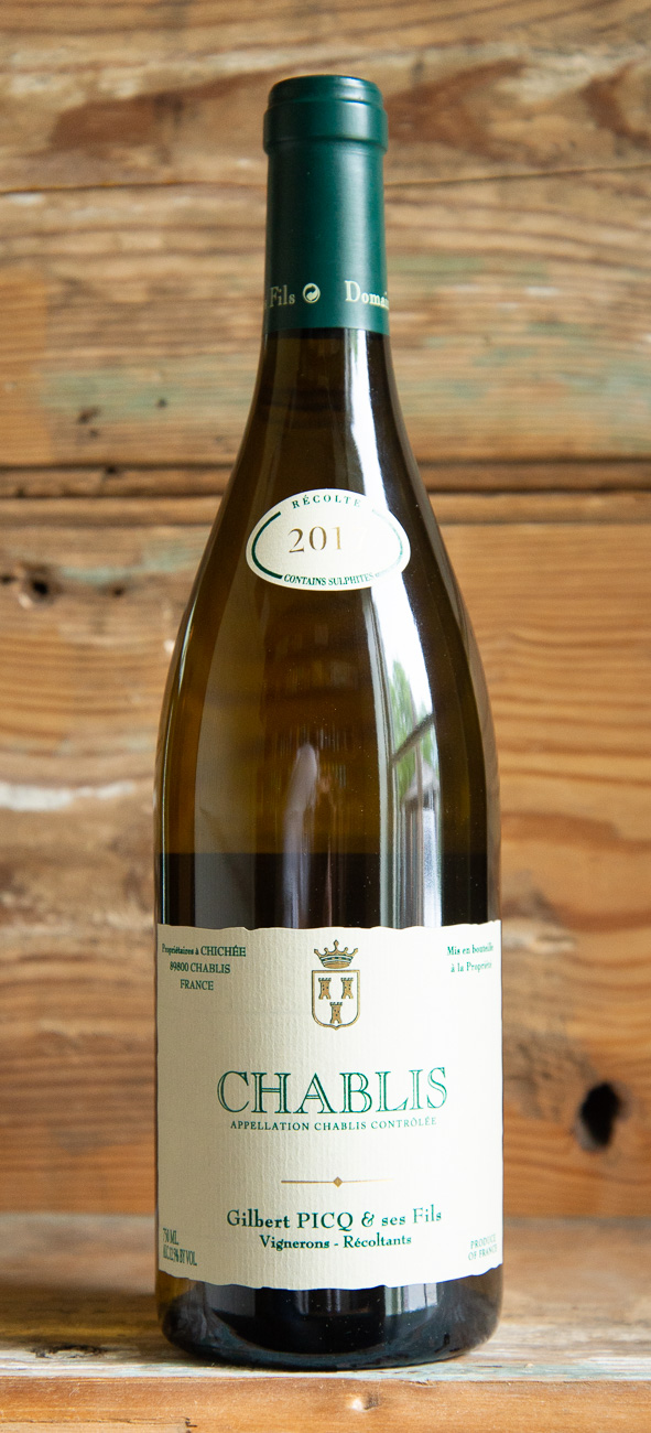 Gilbert Picq et ses Fils Chablis 2017 - Origin: FranceRetail: $33.95 | Sale: $30.55Brothers Didier and Pascal Picq quickly established themselves as rigorous growers after taking over this 32-acre domaine from their father in 1976. The Domaine of Gilbert Picq et Ses Fils is one of the lovely, small, up-and-coming producers that dot the Chablisienne landscape. The Picq style of Chablis is very classic, with the inimitable expression of minerality that Chardonnay only picks up in these rolling hillside vineyards of the Yonne Valley. Couple this with racy acidity and the fine depth that comes with low yields, meticulous winemaking, and fine parcels of vines. The Picq Chablis is one of the finest examples to be found in the appellation, with the structure and cut to age gracefully for up to twenty years. It ischock full of flinty seashell essence, making it a quintessential Chablis. It is an incredible value that you won't want to miss.100% Chardonnay