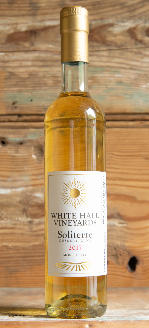 White Hall Soliterre 2017 - Origin: Monticello, VirginiaRetail: $24.95 | Sale: $22.45White Hall Vineyards is a farm winery located just 13 miles from historic Charlottesville, Virginia. This lush and balanced dessert wine maintains its acidity beautifully. Like drinking liquid honey, this wine will pair wonderfully with fruit desserts or foie gras.100% Petit Manseng