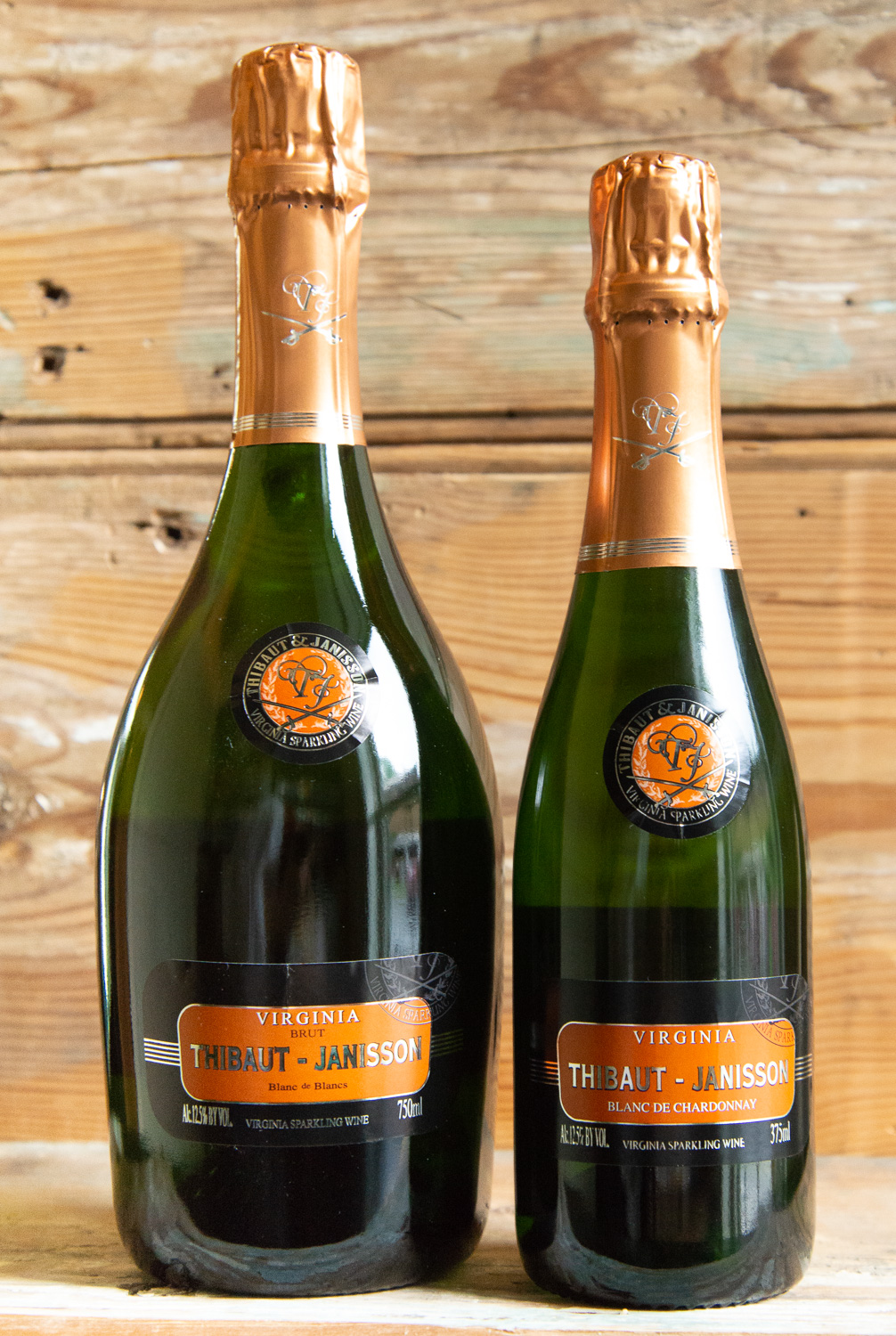 Thibaut-Janisson Brut NV - Origin: Monticello750mL: $29.95 | Sale: $26.95375mL: $18.95 | Sale: 17.05Thibaut Janisson is a joint venture between Champagne's Manuel Janisson and globe-trotting winemaker Claude Thibaut. They have captured the flavors and essence of the Virginia Terroir. This Cuvee, from the Monticello Appellation, has vibrant aromas of pear and ripe apples; the taste is perfectly balanced, crisp and refreshing. Thibaut notes that in America, unlike in other parts of the world, Champagne and sparkling wine is reserved for special occasions. He encourages that it should be enjoyed not just for celebrations and noteworthy events, but also as a highly versatile wine that pairs well with an assortment of foods and can stand on its own as a daily pleasure and petite indulgence.100% Chardonnay