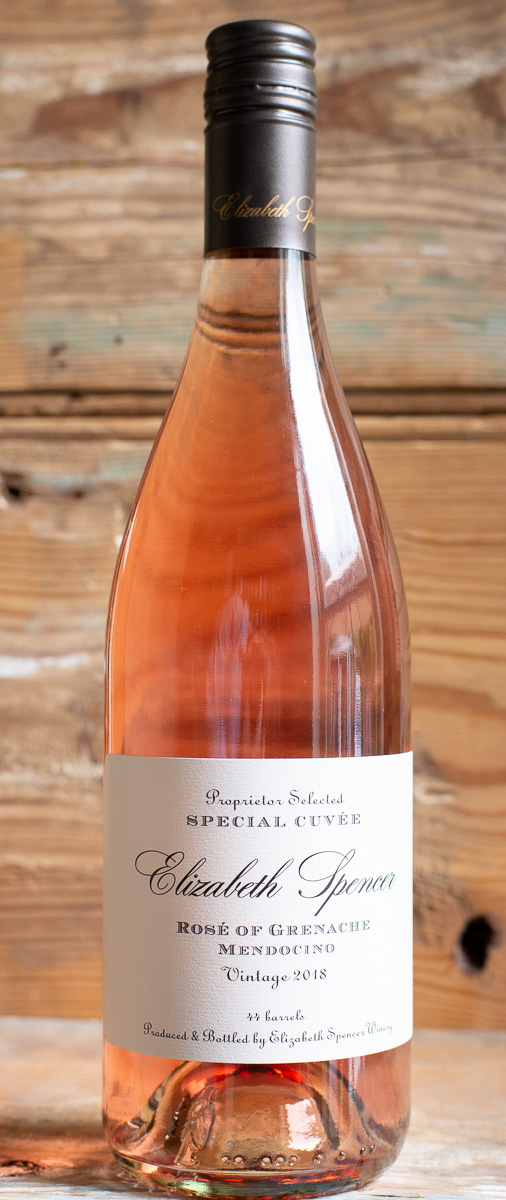 Elizabeth Spencer Rosé of Grenache 2017 - Origin: CaliforniaRetail: $20.95 | Sale: $18.85This Rosé leaps from the glass with a bountiful nose of crushed raspberry, blood orange zest, lilacs, and grape blossoms. The palate is likewise generous and fruity, redolent of cherry, guava, and grapefruit. The fruity palate is well-supported with a bright and zesty acidity that lingers long into the bold, structured finish.100% GrenacheSustainable.