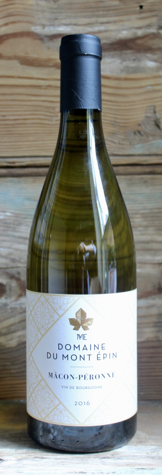 Domaine Du Mont Epin Macon-Peronne 2016 - Origin: FranceRetail: $21.95 | Sale $19.75Richard and Stephanie Martin, owners of St. Veran's renowned Croix Sennaillet estate, purchased the historic Mont Epin domaine in 2015. Situated in the commune of Clesse in the Maconnais region of southern Burgundy, Domaine du Mont-Epin specializes in chardonnay, the grape of Macon. The clay and limestone soils of the estate feature a steady slope which allows contstant and consistent drainage. The vineyard is also sheltered by the forested summit of Mont Epin, which combined with a weastern exposure allows for a late ripening of the grapes. All of this results in a wine that is crisp with underlying richness and a distinct thread of minerality.100% Chardonnay