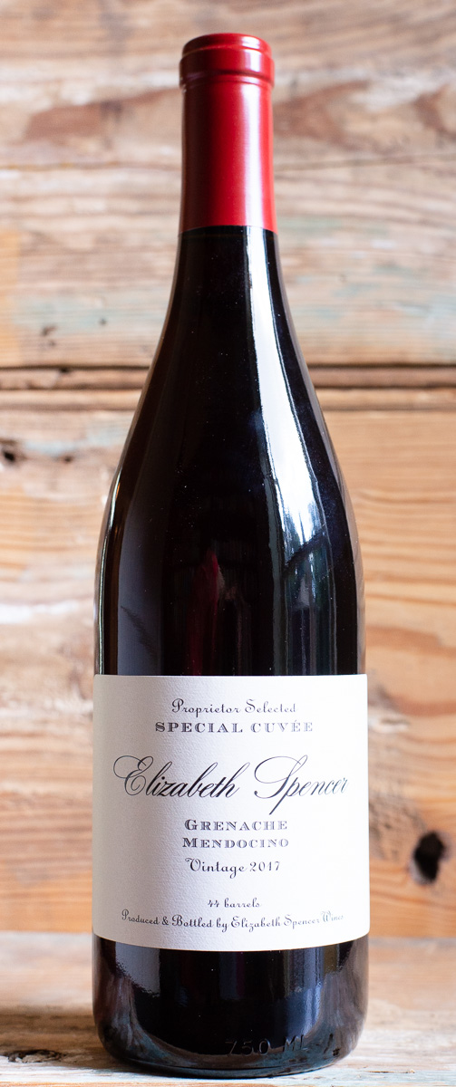 Elizabeth Spencer Grenache 2017 - Origin: CaliforniaRetail $27.95 | Sale $25.15Established in 1998, Elizabeth Spencer is a winery based in Rutherford, Napa Valley. This Grenache comes from a southwestern facing slope in Mendocino, just east of Ukiah. Ripe, crushed raspberries and strawberries on the nose, with a healthy dose of baked strawberry pie. The wine is fresh and light on the palate, with an acidity that refreshes and supports the fruit flavors from the front to the back. Juicy plum, raspberry, blood orange zest, and ripe, wild strawberries fill the mid-palate. The finish is crisp and light, with a lingering mineral note.100% Grenache