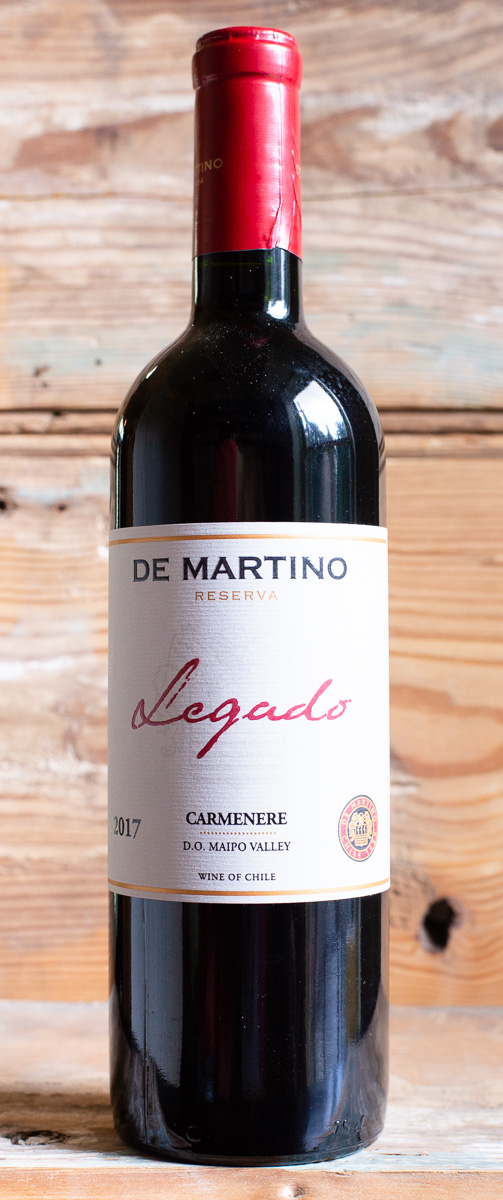 De Martino Legado Carmenere 2017 - Origin: ChileRetail: $23.95 | Sale: $21.55The De Martino family has been producing wine in Chile's famous Maipo Valley for almost 70 years. This Carmenere was sourced from stony alluvial soils in Isla de Maipo where the varietiy achieves excellent ripeness. After fermented in stainless steel with indigenous yeasts, the wine is aged in used oak barrels for 19 months. Paprika aromas with a touch of herbs welcome you into the glass. The palate is medium-bodied with fine tannins.100% Carmenere