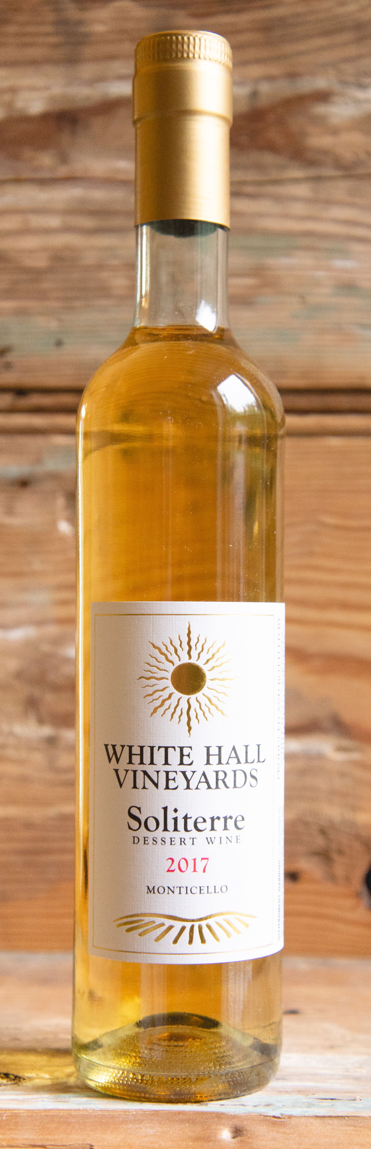 White Hall Soliterre 2017 - Origin: MonticelloRetail: $24.95   Sale: $22.45White Hall Vineyards is a farm winery located just 13 miles from historic Charlottesville, Virginia. This lush and balanced dessert wine maintains its acidity beautifully. Like drinking liquid honey, this wine will pair wonderfully with fruit desserts or foie gras.100% Petit Manseng