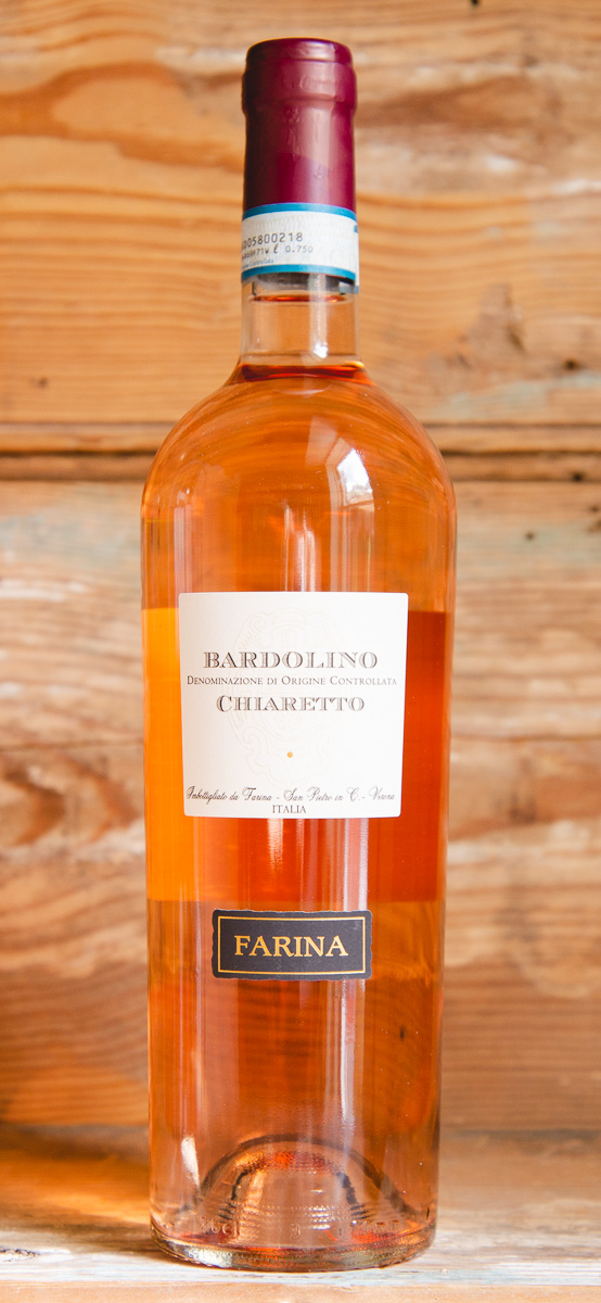 "Farina Bardolino Chiaretto 2018 - Origin: ItalyRetail: $14.95 | Sale: $12.55Made with a blend of varieties that are indigenous to the Veneto region from the hilly area around Verona, which is one of the oldest rosé producing areas in Italy. Known locally as Chiaretto, meaning ""light"" or ""pale,"", this rosé is fresh with wonderful aromas of violet, raspberry, and peach. The palate offers sour cherry, juicy strawberry, honeydew melon and a hint of baking spice before a crisp, dry finish. It's a complex rosé that is savory, lively and harmonic.60 Corvina 