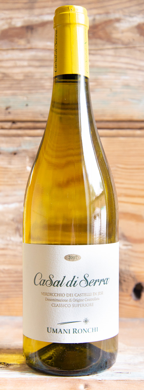 Umani Ronchi CaSal di Serra Verdicchio 2017 - Origin: Italy Retail: $22.95 | Sale: $20.65The Umani Ronchi story is one of ancient vines, land and people. From Serra dei Conti in Marche to Roseto degli Abruzzi, Umani Ronchi has a total surface area under vine of 210 hectares nestled between the hills and the sea along the Adriatic coast. This wine is a beautiful example of an indigenous varietal with personality, without altering its fine balance and special elegance. Enticing aromas of jasmine, Granny Smith apple and white peach float from the glass. The medium-bodied, concentrated palate doles out Bartlett pear, ripe grapefruit, ginger and sage alongside bright acidity and energizing mineral sensations.Verdicchio | Organic