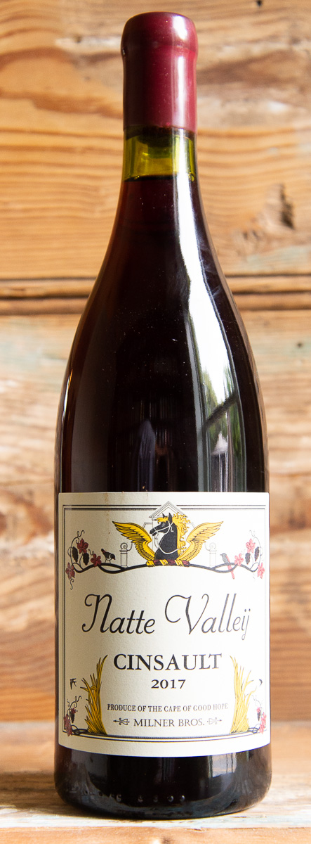 Natte Valleij Cinsault South Africa 2017 - Origin: South AfricaRetail: $17.95 | Sale $16.15The father to South Africa's national varietal Pinotage, Cinsault has since fallen into obscurity. Affectionately still called Hermitage by the many old timers, it creates superbly drinkable wines with red fruits, spice and surprising structure to age gracefully. This tribute to South Africa's wine-making past was hand-crafted from selected parcels of old bush vines spread across the Cape. The nose is floral, with red cherry, herbs and spice. The palate is plump and juicy with moderate acidity and soft tannins, the finish still managing to be relatively savory.Cinsault