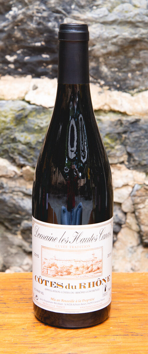Domaine les Hautes Cances Cotes du Rhone 2015 - Origin: FranceRetail: $19.95 | Sale $17.95Domaine les Hautes Cances is a small family estate, with 16 hectares of vineyards situated on the slopes overlooking the village of Cairanne. This wine is uniquely perfumed and floral, with hints of violets, spice and even citrus zest. On the palate, it's medium to full-bodied, silky and fresh, supported by velvety tannins. 47 Grenache | 28 Syrah | 10 Mourvèdre | 10 Carignan | 5 Cinsault 90 Points Wine Advocate