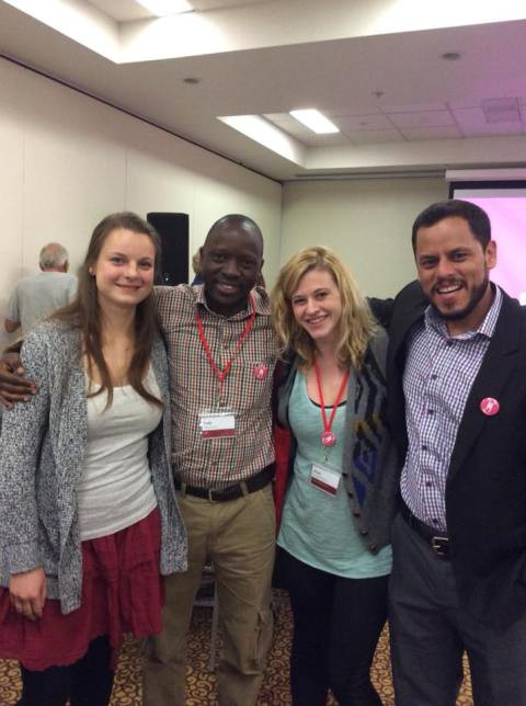 From Left to Right: Marieke Prien, President of Young Humanists International (Germany) Kato Mukasa, Board Member of Humanists International (Uganda) Anya Overmann, Communication Officer of Young Humanists International (USA) David Pineda, Board Member of Humanists International (Guatemala)