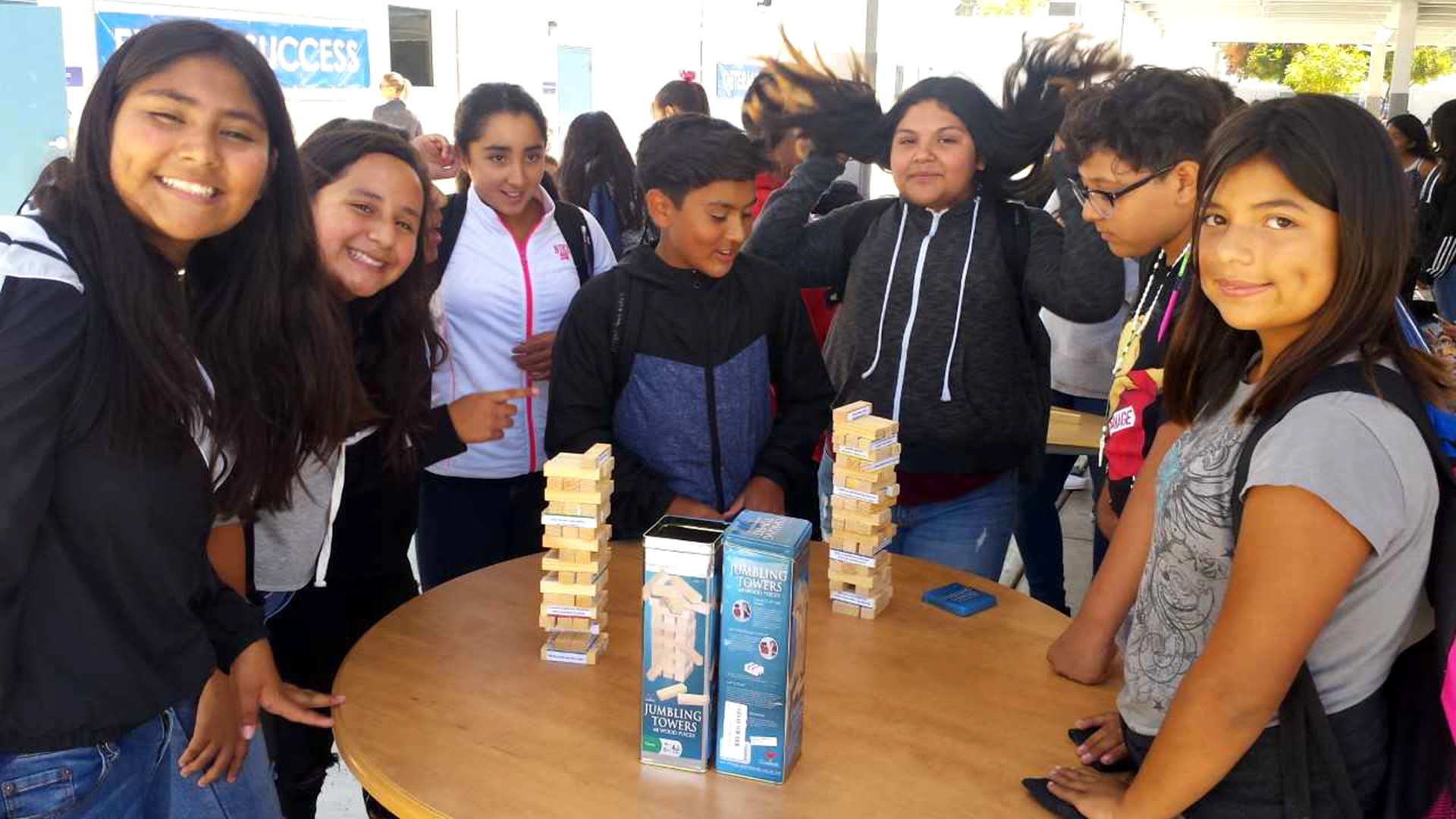 """Students play Jenga during their lunch for our counselor's support of the """"Sandy Hook Promise: Start with Hello Week"""" to promote connectedness and inclusion within Fillmore Middle School."""