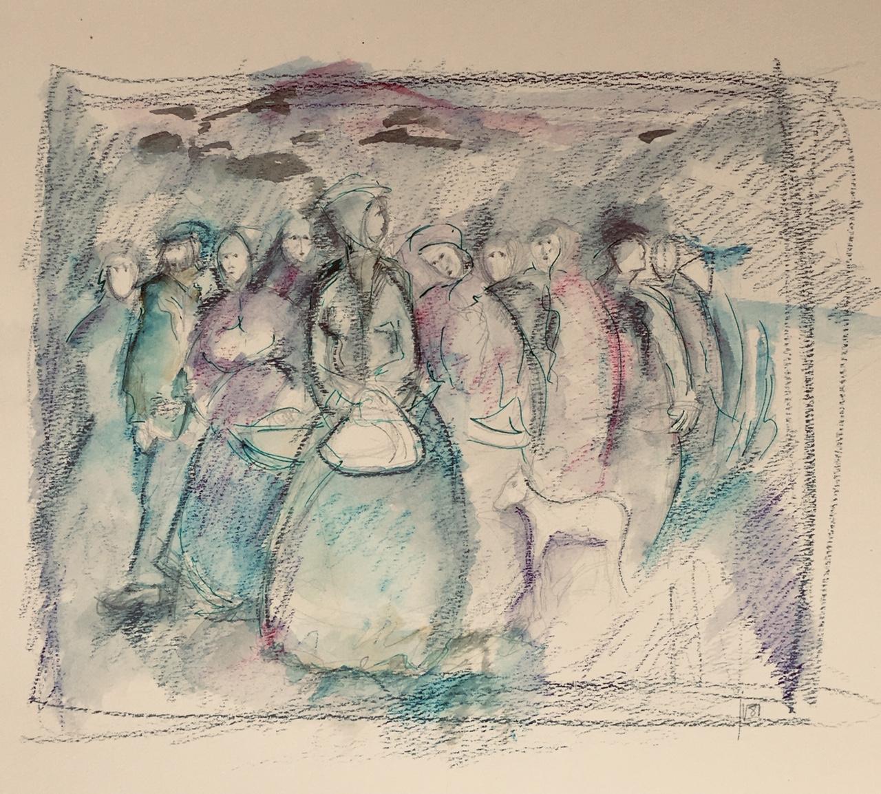 Déplacements , crayon et aquarelle, Jean Véronneau (1981)