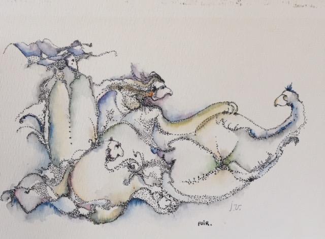 Fuir , encre et aquarelle, 1979, Jean Véronneau