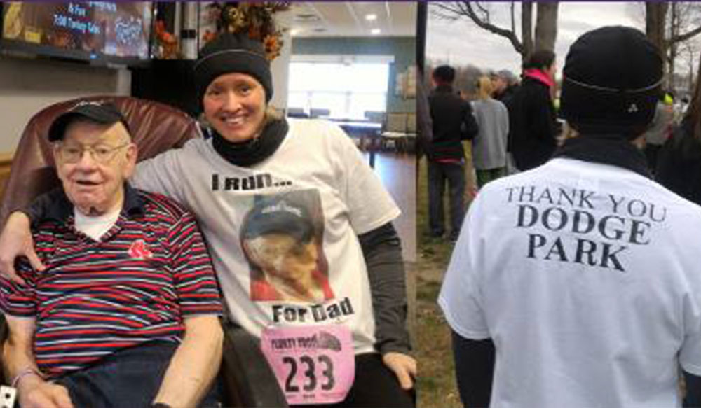"For my dad - ""I trot for my dad, Stanley Wolosz, a father of eight children, and a former elementary school principal for years in the city of Worcester. Thanks you the great event you organize. It is now a part of our Thanksgiving tradition."" —Gretchen Wolosz, race participant"