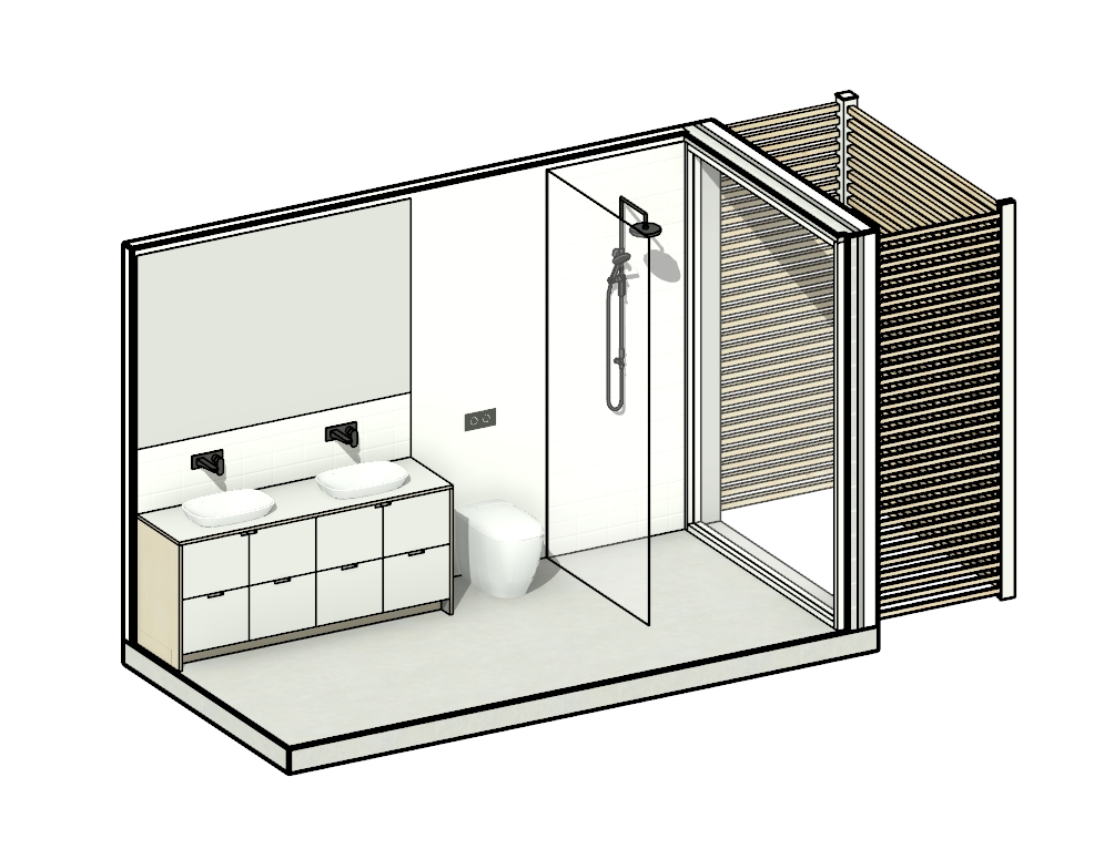 Wet - 1 - The Wet 1 module serves as both an Ensuite and stand alone bathroom with a double Vanity and full length shower. A timber privacy screen and garden create a private garden outlook, captured by the full height window bringing the external inside.