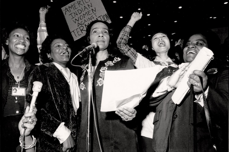 Coretta Scott King - Minority women enthusiastically introduce an amendment at the International Women's Year Conference, Houston, 1977