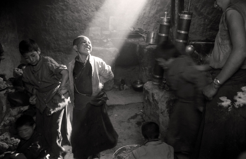 Novice in Monastery Kitchen - Lamaruyu Gompa, Ladakh, on the Tibetan Plateau
