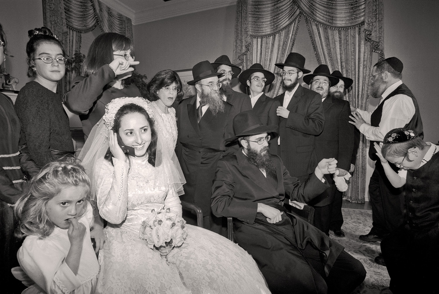 Hassidic Bride on Cell Phone