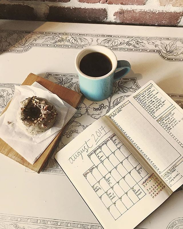 All about the plans. How's your August shaping up? What big things do you have planned this month?#Repost @welfstrom ・・・ #coffee #coffeetime #planning #august #donuts #planner #planneraddict #goals #stpetian
