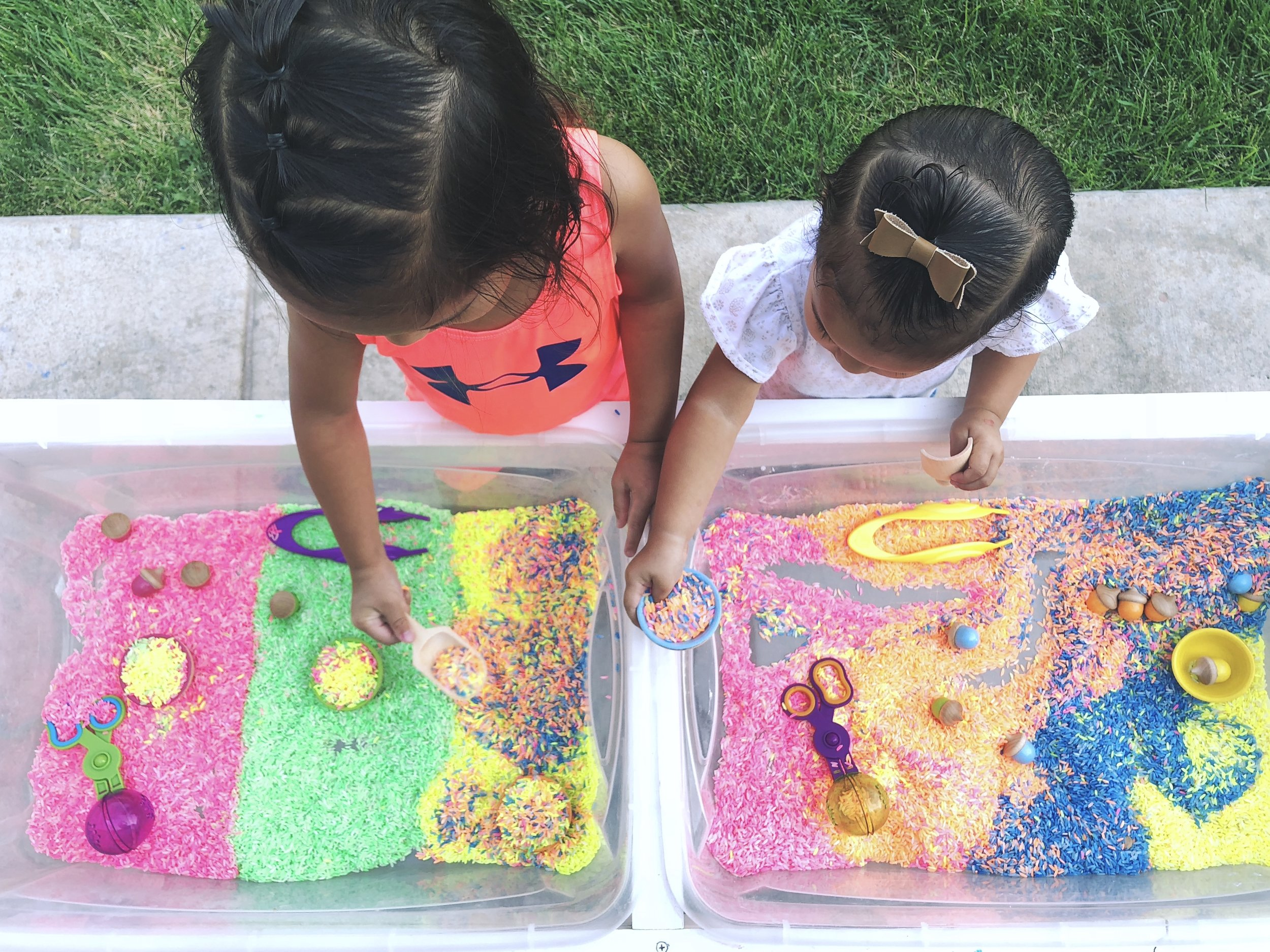 """See this colored rice activity in our """"Play"""" section or by clicking  here"""