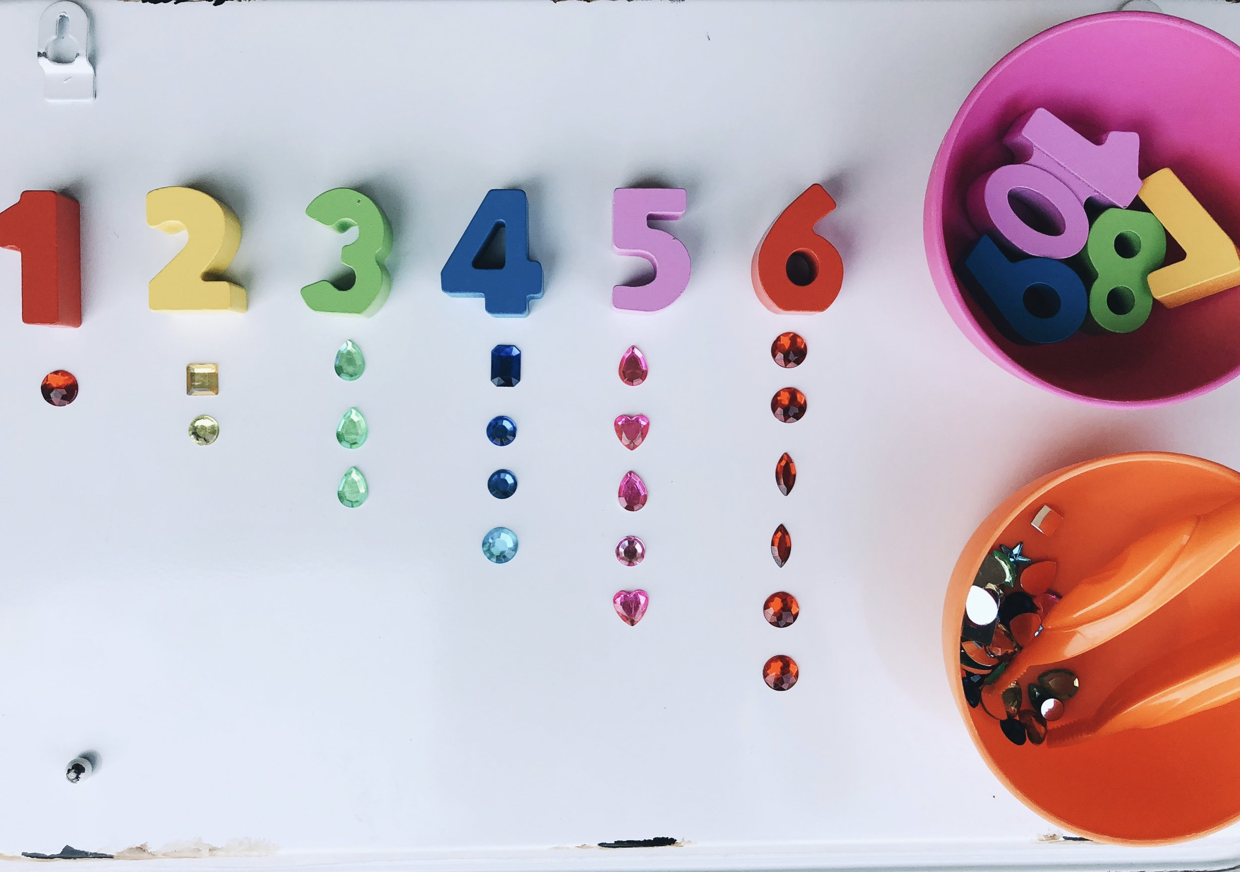 We used our babe rock number puzzle (click  here ) and found our jewels at Walmart for this activity.