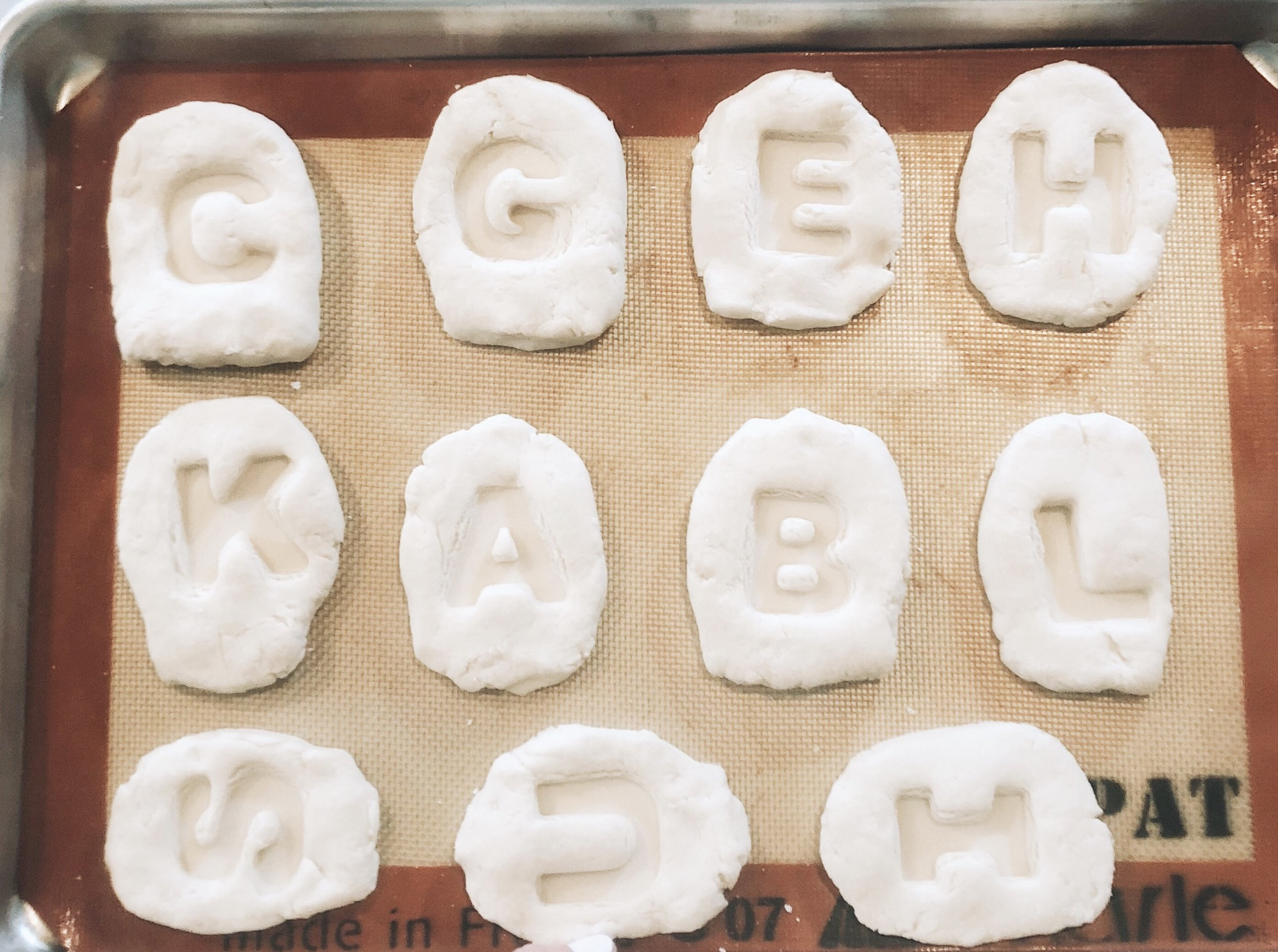 We ended up having 24 tombstones on two cookie sheets, but I think we could have had a couple more if we made some of them a little smaller.