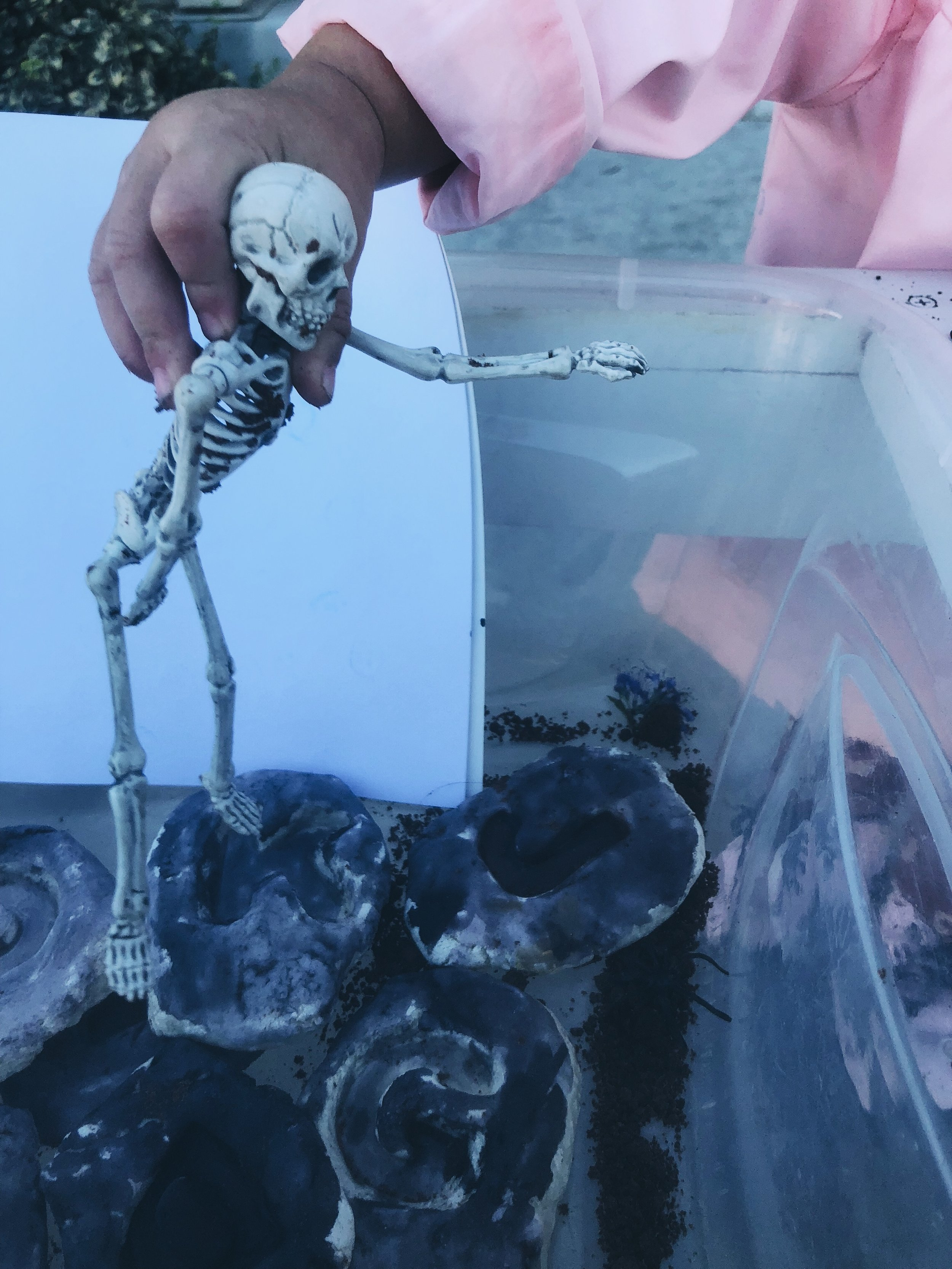 """These skeletons were able to bend and the girls thought they were so fun! My 2 year old in particular is a big fan of the movie """"Cocoa"""" and thought they were awesome! She even had to keep her hood on the entire activity to be just like Miguel from the movie haha."""
