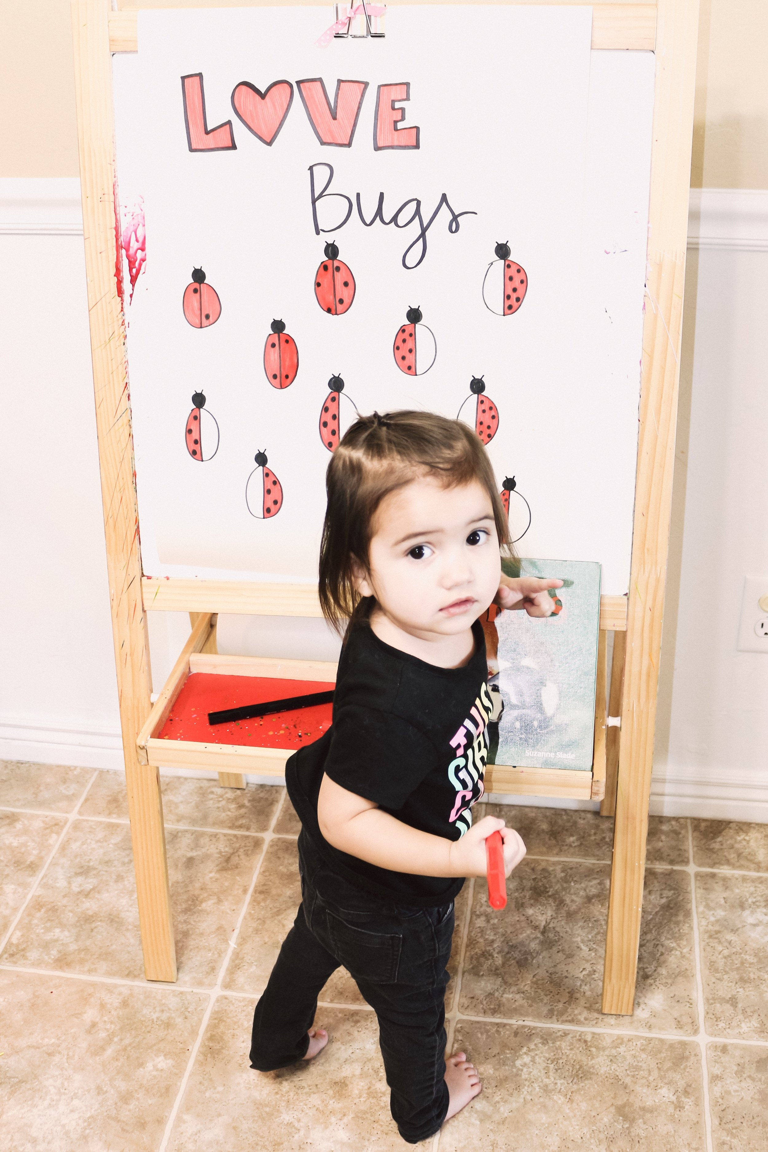 I was so impressed with my two year old's ability to color in the ladybug while staying in the lines!