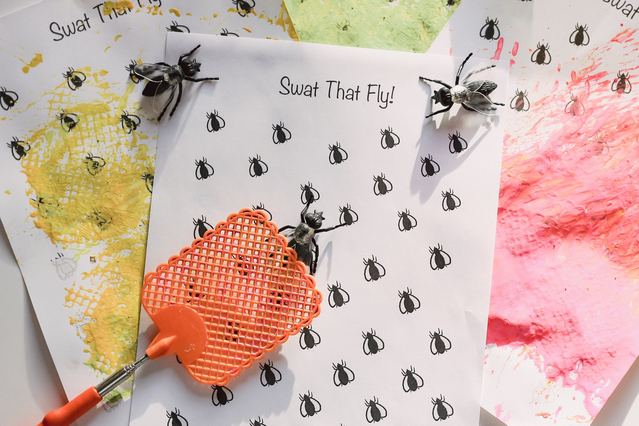 """Swat that fly printable! Dip a fly swatter in paint and have fun """"swatting!"""" my girls did this activity over 10 times!"""