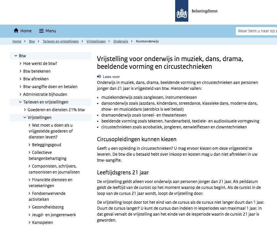 Screenshot van de website van de Belastingdienst.