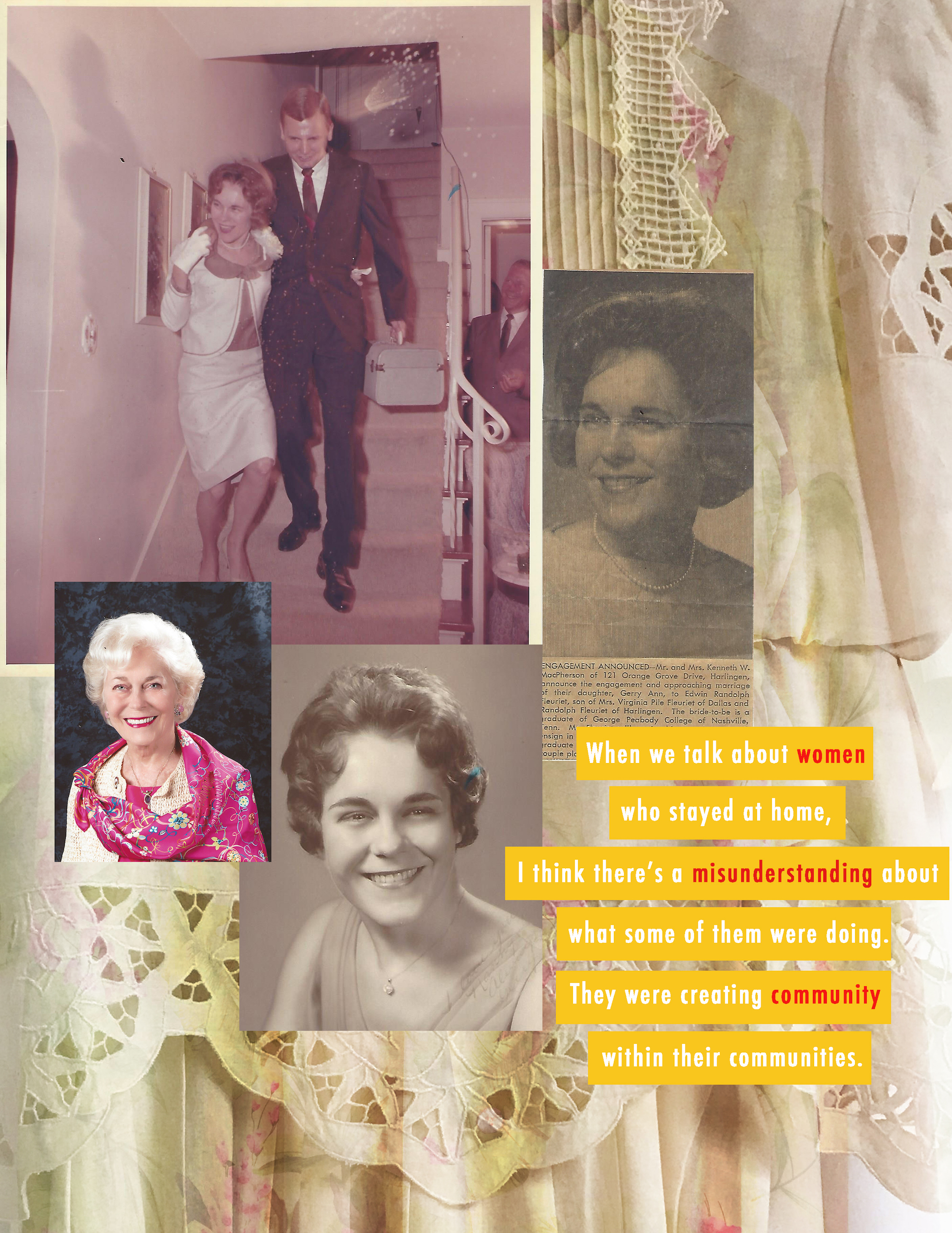Top left: Gerry and her husband heading from their wedding reception to the Mexican border town of Brownsville, from where they left the next morning for their honeymoon in Mexico City and San Jose de Purua, an old spa resort in the mountains. (Collage by    Isabel Bina   )