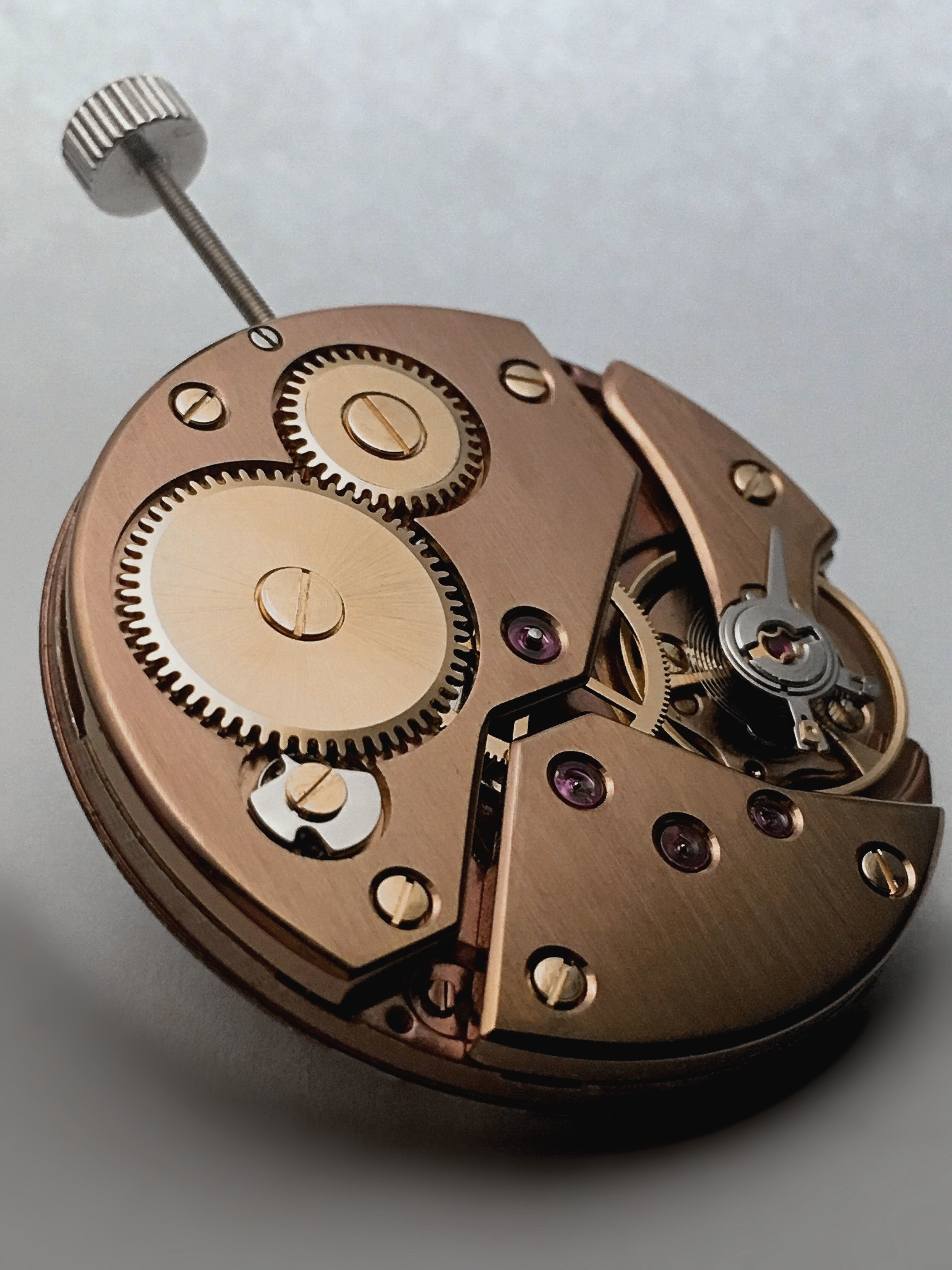 """LANDERON 98""  THE BROWN BRUSHED SURFACE STANDS IN BEAUTIFUL CONTRAST WITH ITS HANDMADE ANGLED/ POLISHED EDGES  THE ROSÉGOLD SCREWS GIVES THE MOVEMENT A NOBLE STYLING"
