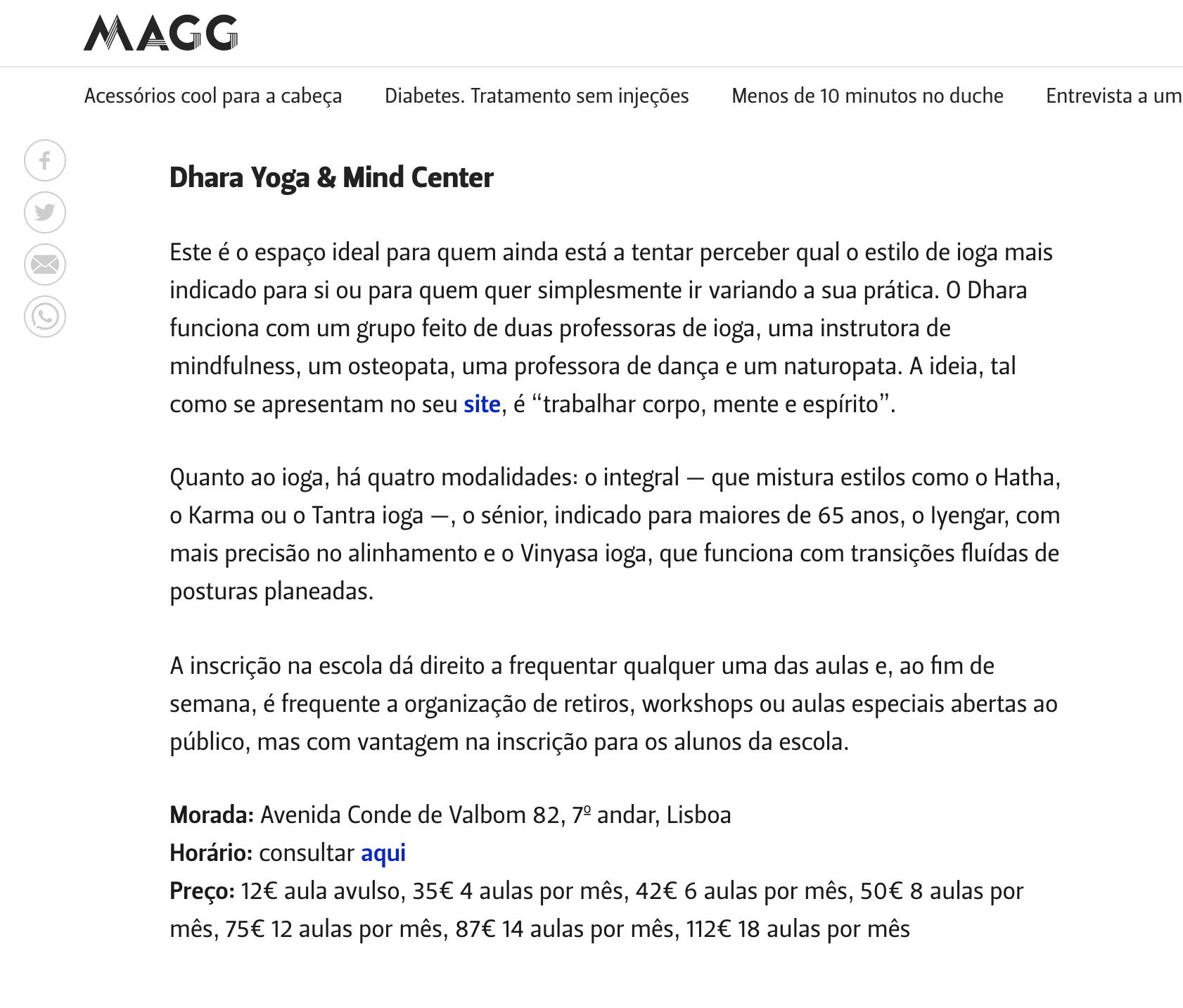 MAGG | OUTUBRO 2018   Há cada vez mais sítios para praticar ioga. Veja onde