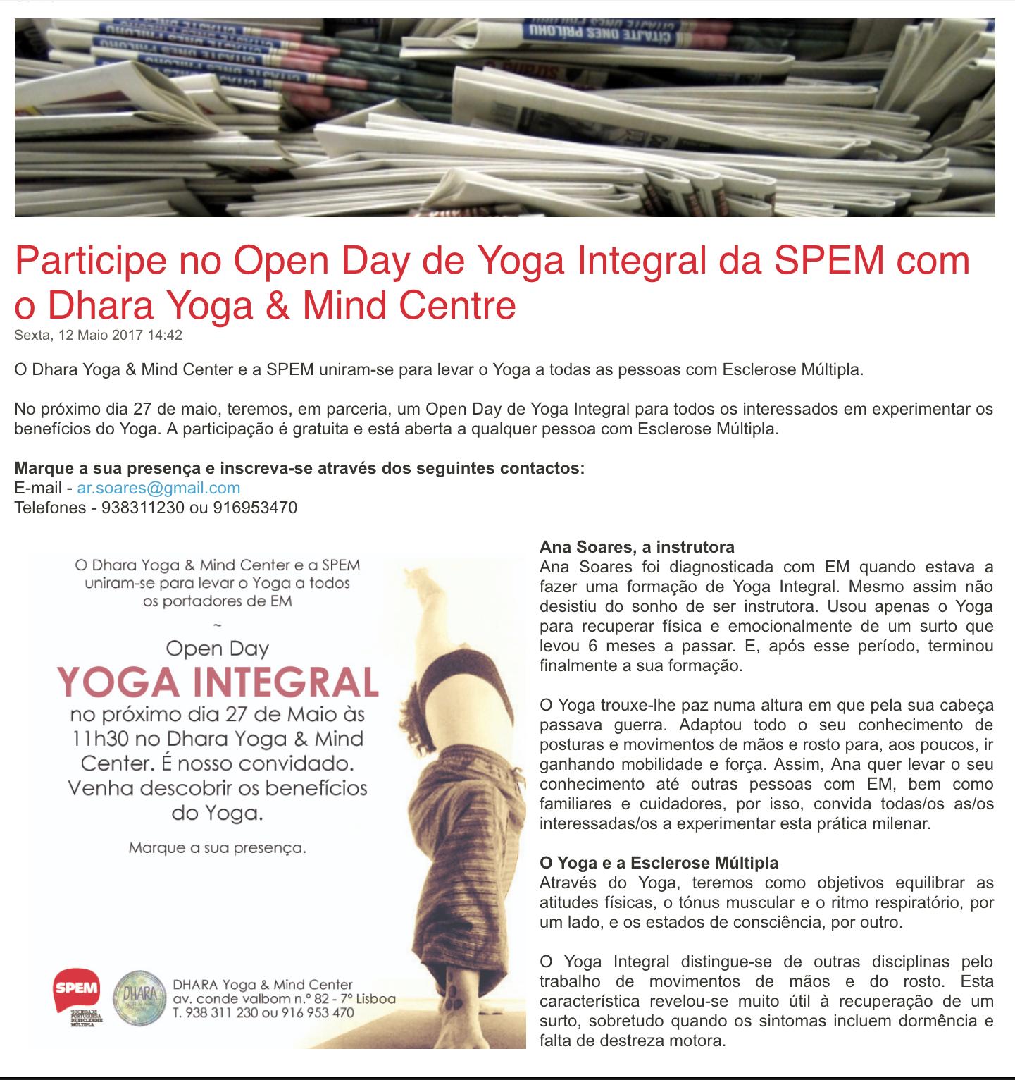SPEM | MAIO 2017   Open Day Yoga Integral e Esclerose Múltipla