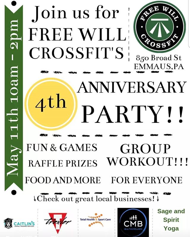 Free Will Crossfit's 4th Anniversary Party!  #foodfunfitness