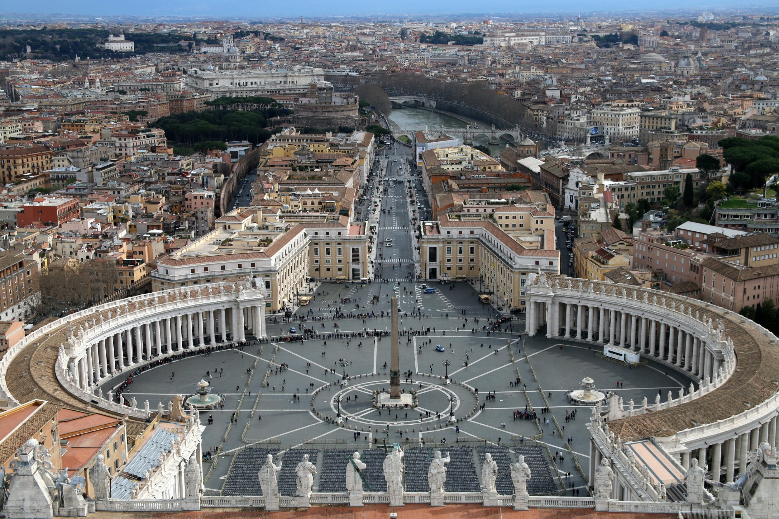 View over St Peter's Square from the top of the basilica