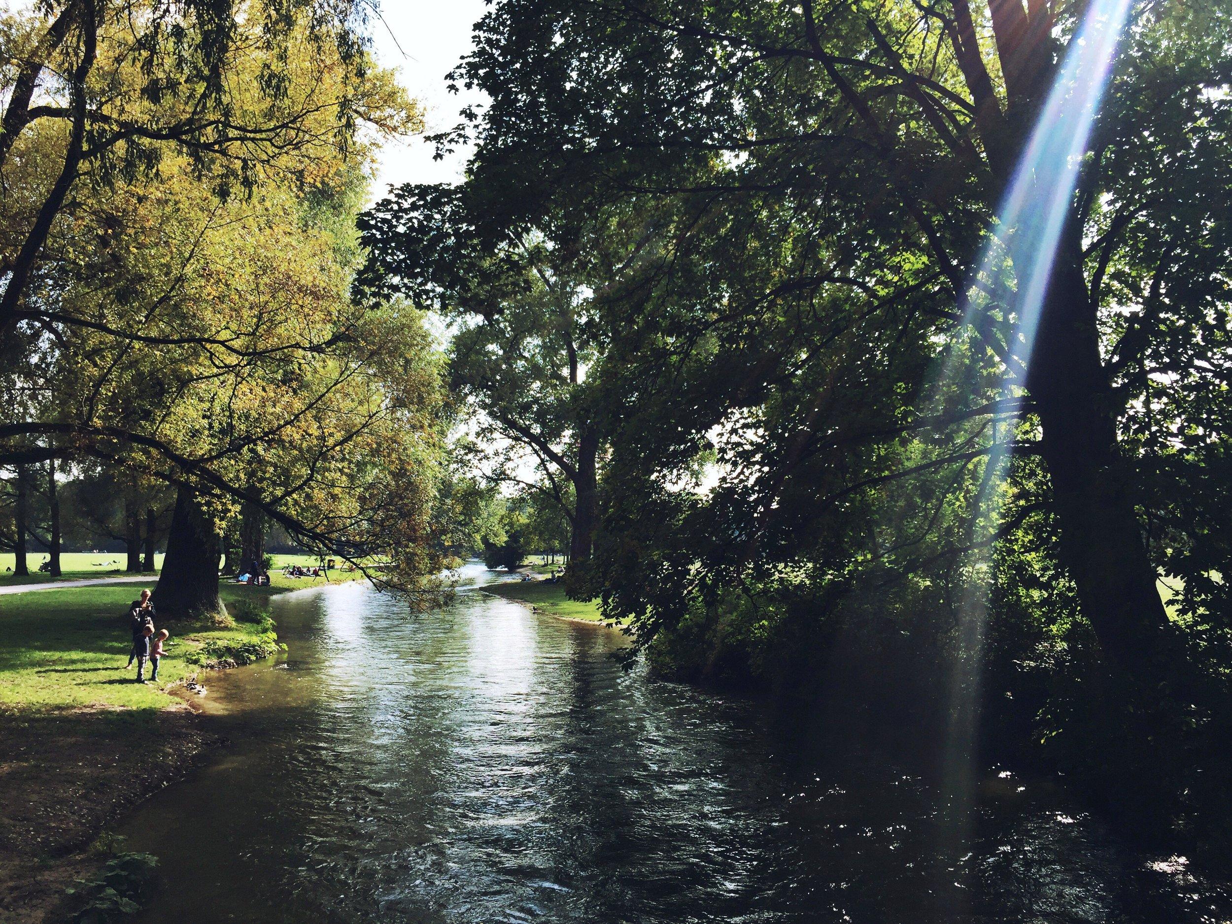 Eisbach at Englischer Garten on a quiet day