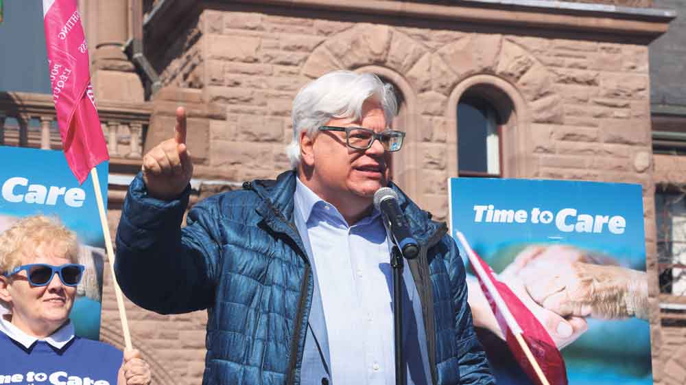 "CUPE Ontario president Fred Hahn highlights need for higher levels of care for residents of long-term care facilities, at the ""Time to Care"" rally at Queens Park, February 27, 2018. SUPPLIED"